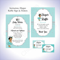 Teal & Silver Girl Baby Shower Invite Set, Brown