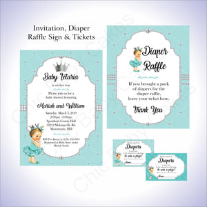 Teal & Silver Girl Baby Shower Invite Set, Brunette
