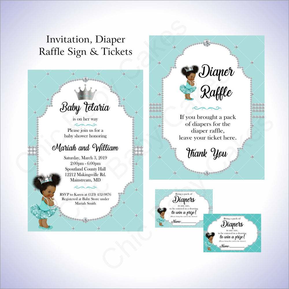 Teal & Silver Girl Baby Shower Invite Set, Afro