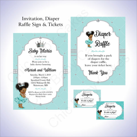Princess Invite, Diaper Raffle - Teal, Silver