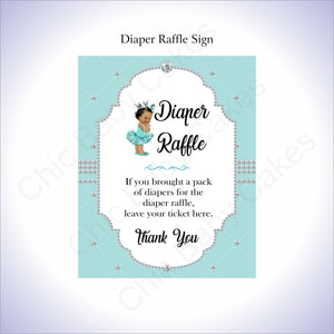 Teal & Silver Girl Diaper Raffle Sign, Brown