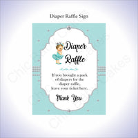 Teal & Silver Girl Diaper Raffle Sign, Brunette