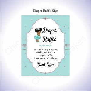 Teal & Silver Girl Diaper Raffle Sign, Curly Afro