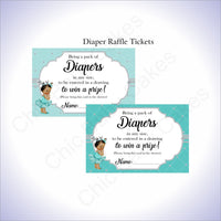 Teal & Silver Girl Diaper Raffle Sign Tickets, Brown
