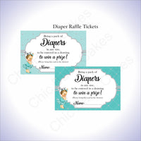 Teal & Silver Girl Diaper Raffle Sign Tickets, Brunette