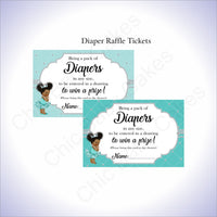 Teal & Silver Girl Diaper Raffle Sign Tickets, Afro