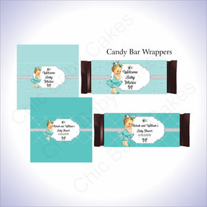 Teal & Silver Princess Candy Bar Wrappers, Blonde