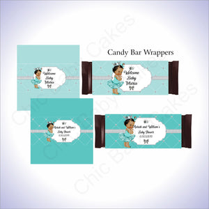 Teal & Silver Princess Candy Bar Wrappers, Brown