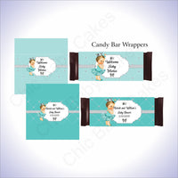 Teal & Silver Princess Candy Bar Wrappers, Brunette