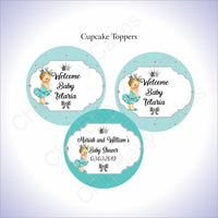 Teal & Silver Princess Cupcake Toppers, Blonde
