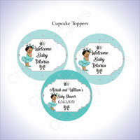 Teal & Silver Princess Cupcake Toppers, Brown