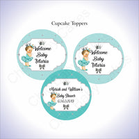 Teal & Silver Princess Cupcake Toppers, Brunette