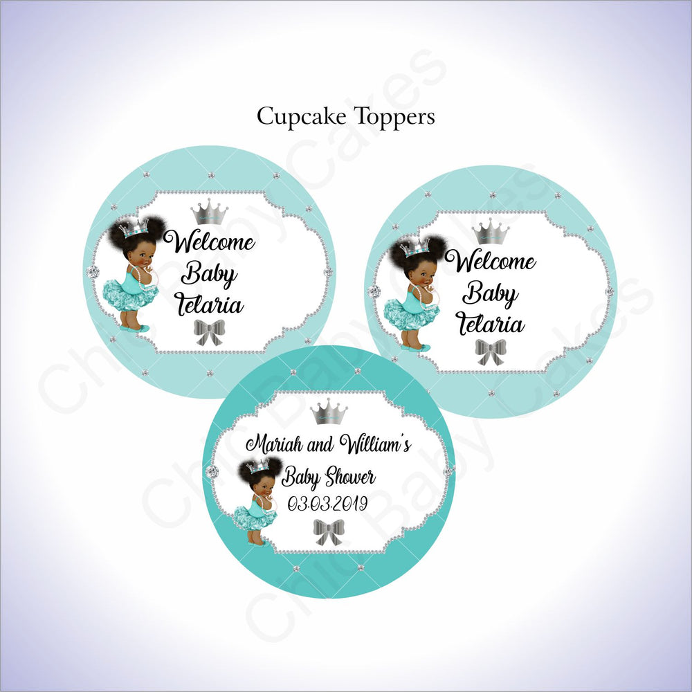 Teal & Silver Princess Cupcake Toppers, Afro