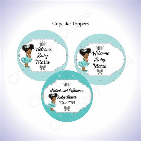 Printable Princess Cupcake Toppers - Teal, Silver