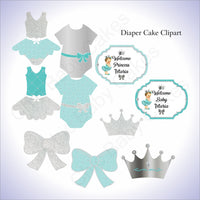 Teal & Silver Little Princess Clipart Decorations, Brunette
