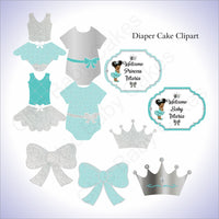 Teal & Silver Little Princess Clipart Decorations, Afro