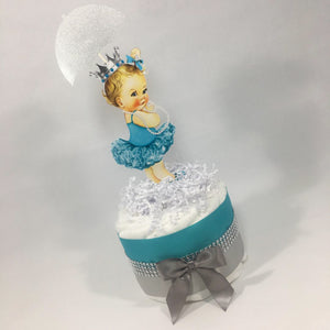 Teal & Silver Princes Mini Diaper Cake
