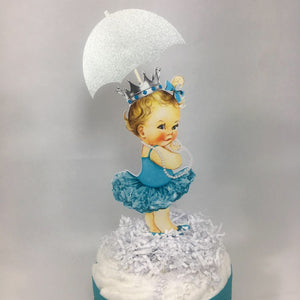 Baby Girl Diaper Cake Centerpiece - Teal, Silver