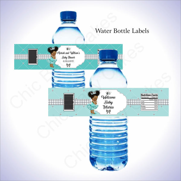 Teal & Silver Princess Water Bottle Labels, Afro