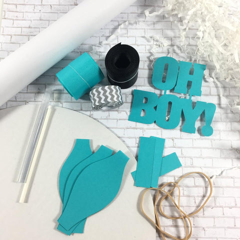 Teal, Black, & Gray Oh Boy Diaper Cake kit