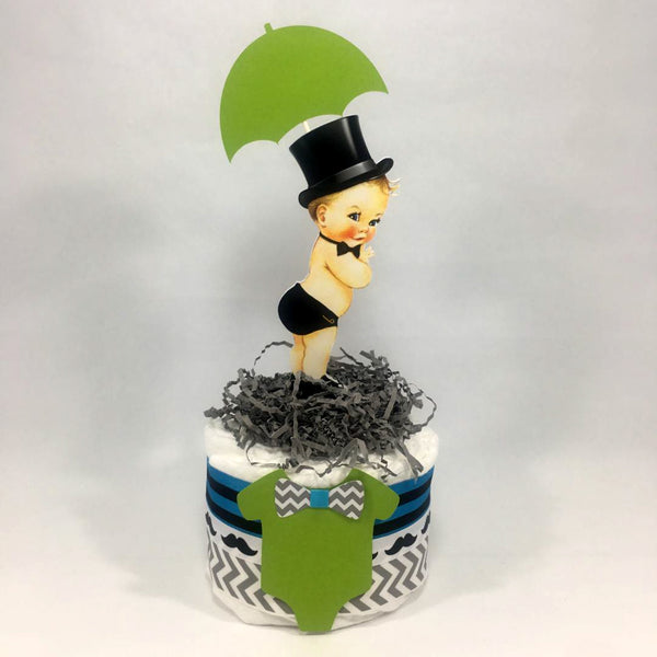 Turquoise and Lime Little Man Diaper Cake