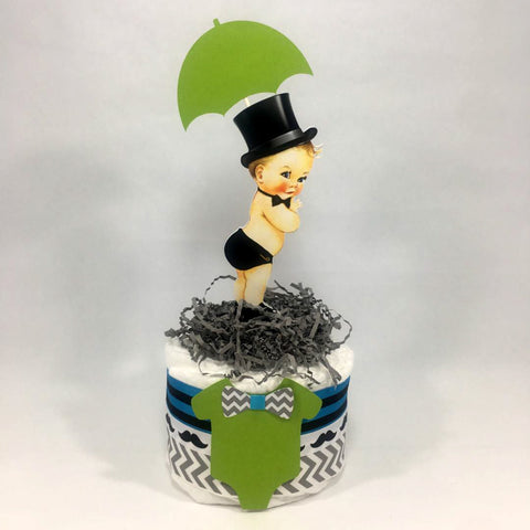 Baby Boy Diaper Cake Centerpiece - Turquoise, Lime Little Man