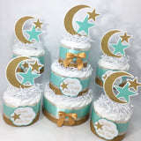 Twinkle, Twinkle Diaper Cake Centerpieces - Mint, Gold