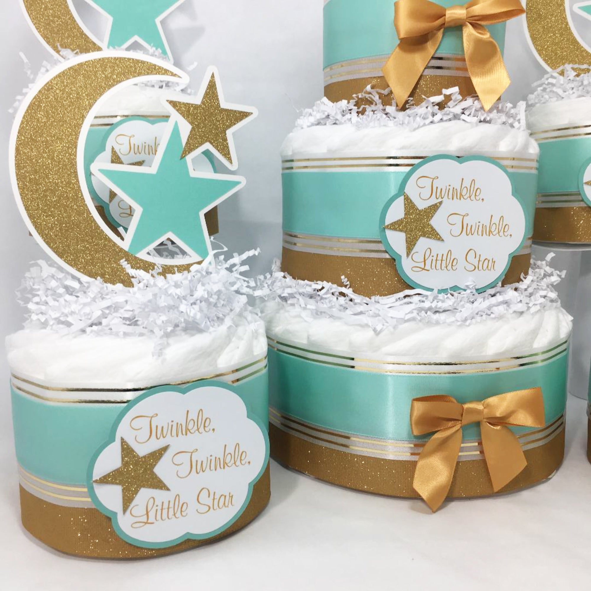 3 Tier Diaper Cake Twinkle Twinkle Blue and Gold with Moon and Stars