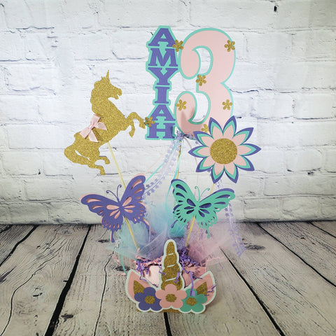 Unicorn Birthday Centerpiece - Lavender, Pink, Aqua, Gold