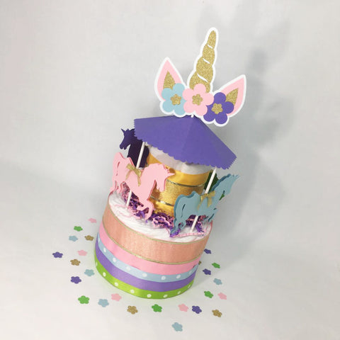 Unicorn Carousel Diaper Cake Centerpiece