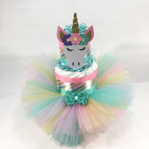 Unicorn Princess Tutu Diaper Cake Centerpiece