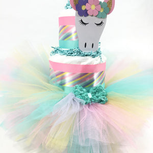 Unicorn Baby Shower Tutu Diaper Cake