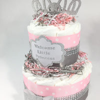 Welcome Little Princess Diaper Cake Centerpiece, Pink, Silver