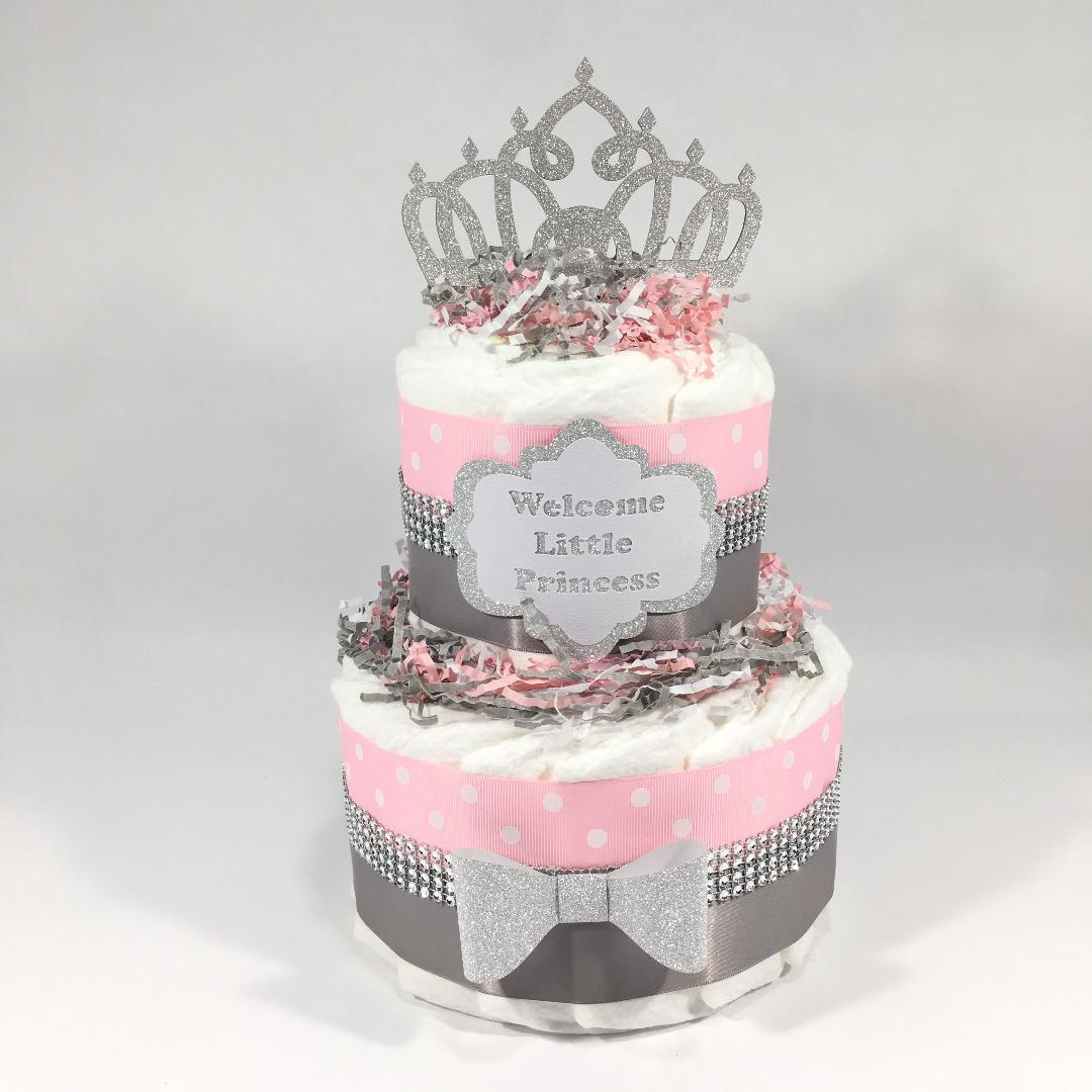 Cool Welcome Little Princess Diaper Cake Centerpiece Pink Silver Funny Birthday Cards Online Aeocydamsfinfo