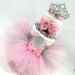 Pink & Silver Princess Baby Shower Tutu Diaper Cake