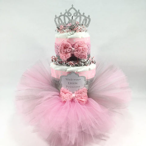 Pink & Silver Tutu Princess Girl Diaper Cake Centerpiece - 3 Layer