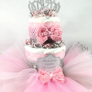 Pink & Silver Girl Baby Shower Tutu Diaper Cake