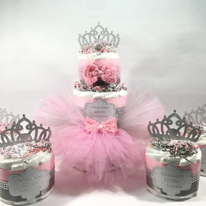 Pink and Silver Little Princess Tutu Diaper Cake Set