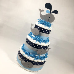 Whale Boy Diaper Cake Centerpiece