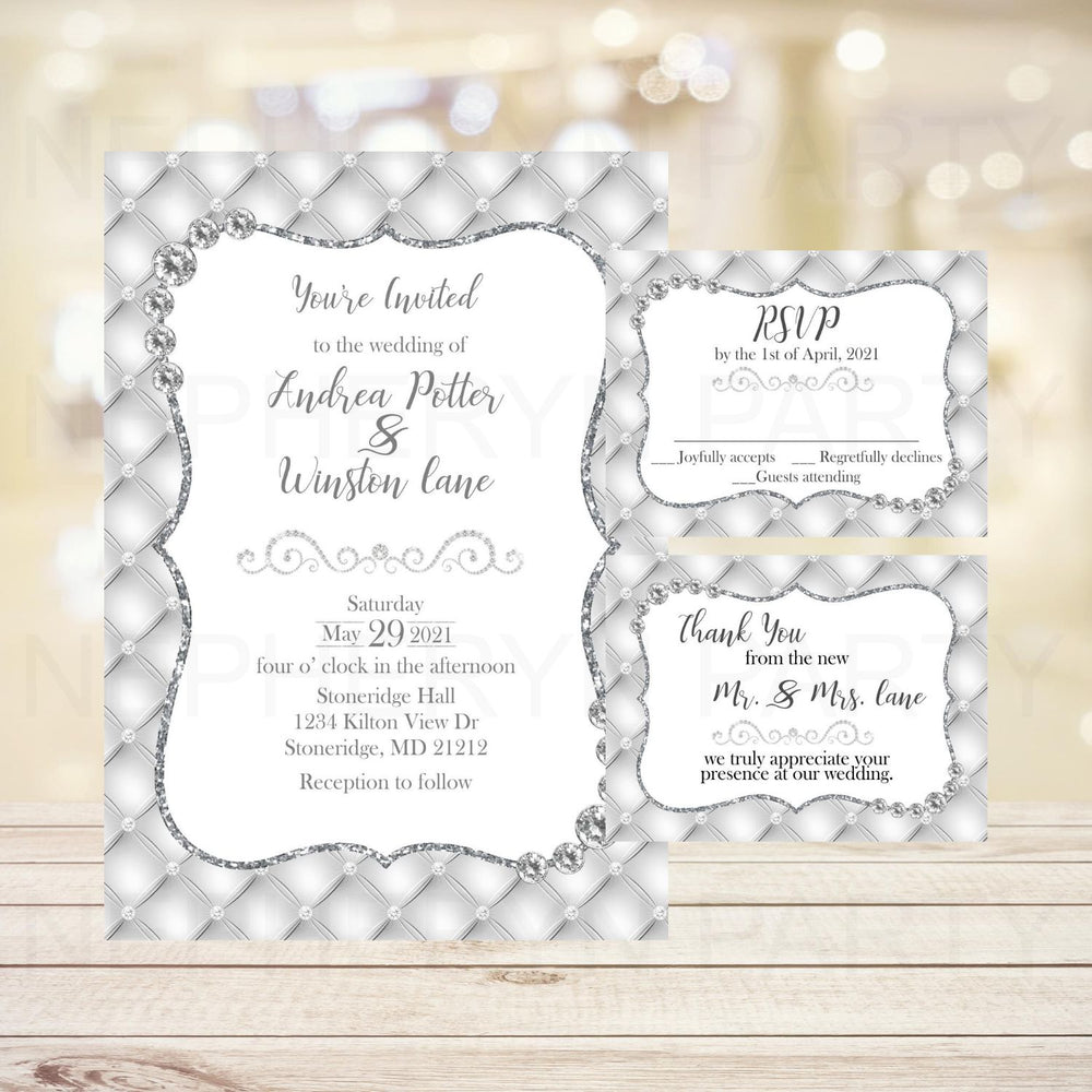 White Diamonds Wedding Invite, RSVP Cards & Thank You Notes