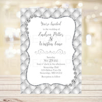 White Diamonds Wedding Invitation