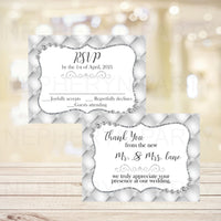 White Diamonds Wedding RSVP Cards & Thank You Notes