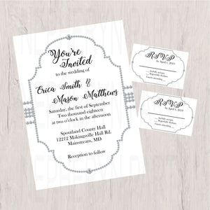 White and Silver Diamond Wedding Invite Set