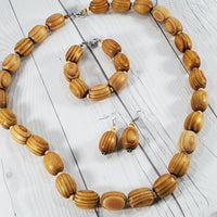 Natural Wood Beaded Fashion Jewelry Set