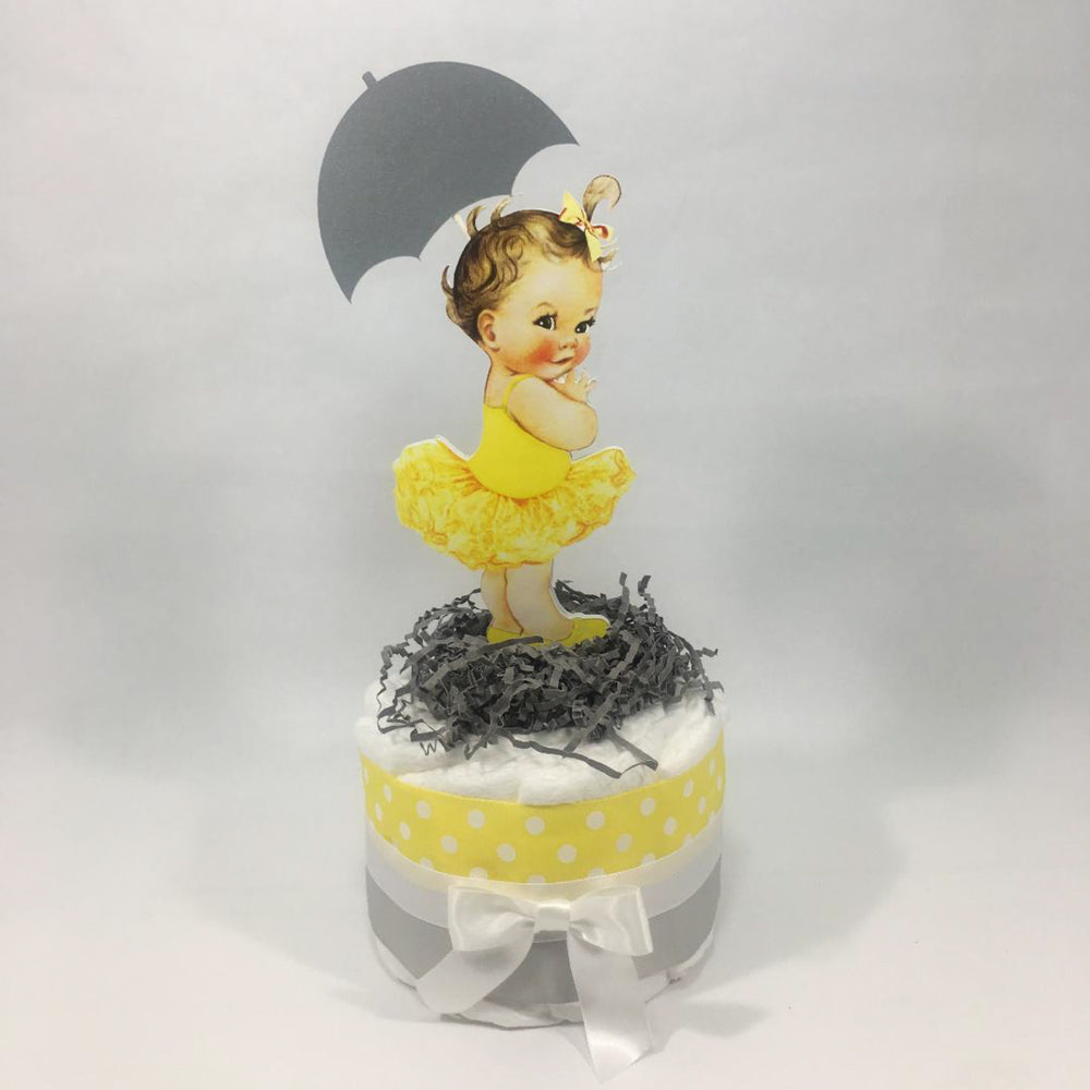 Yellow and Gray Girl Baby Shower Diaper Cake