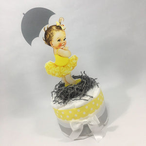 Baby Girl Diaper Cake Centerpiece - Yellow, Silver