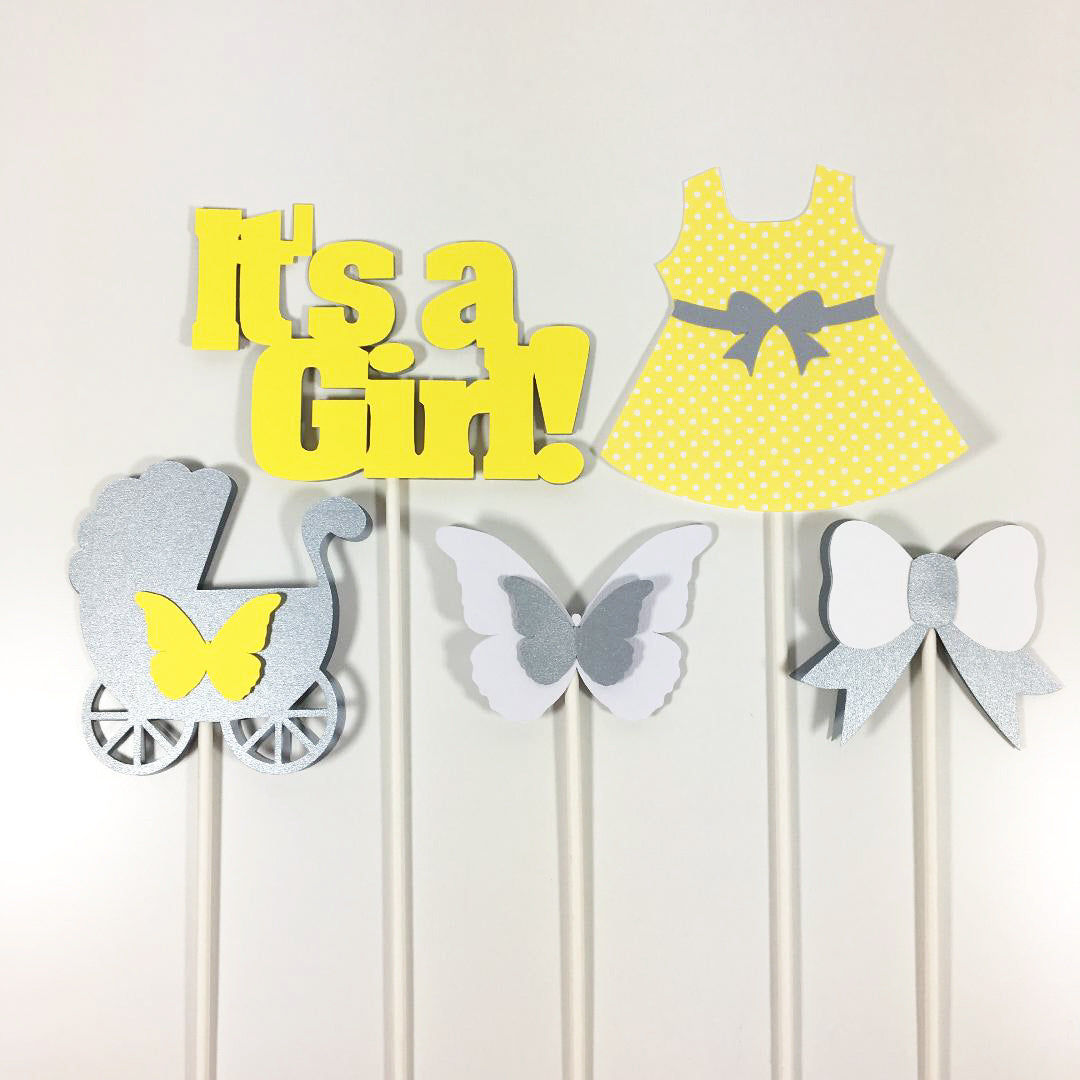 Yellow & Gray It's a Girl Centerpiece Sticks