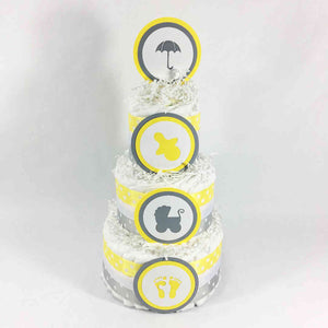 Yellow & Gray Gender Neutral Diaper Cake