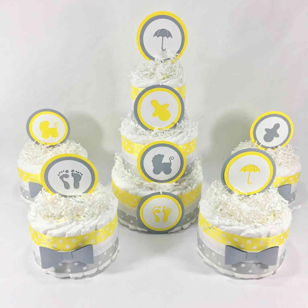 Yellow, Gray Diaper Cake Centerpiece Set
