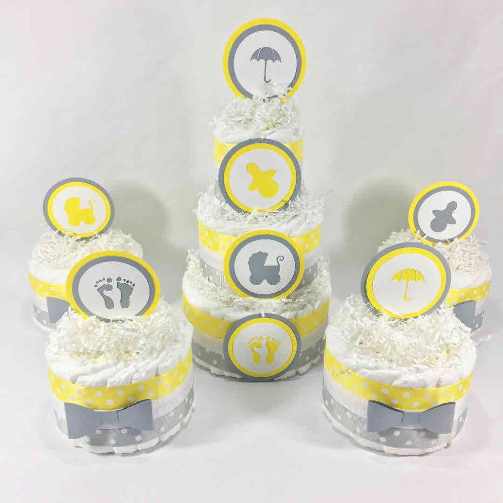 Yellow & Gray Gender Neutral Diaper Cake Set